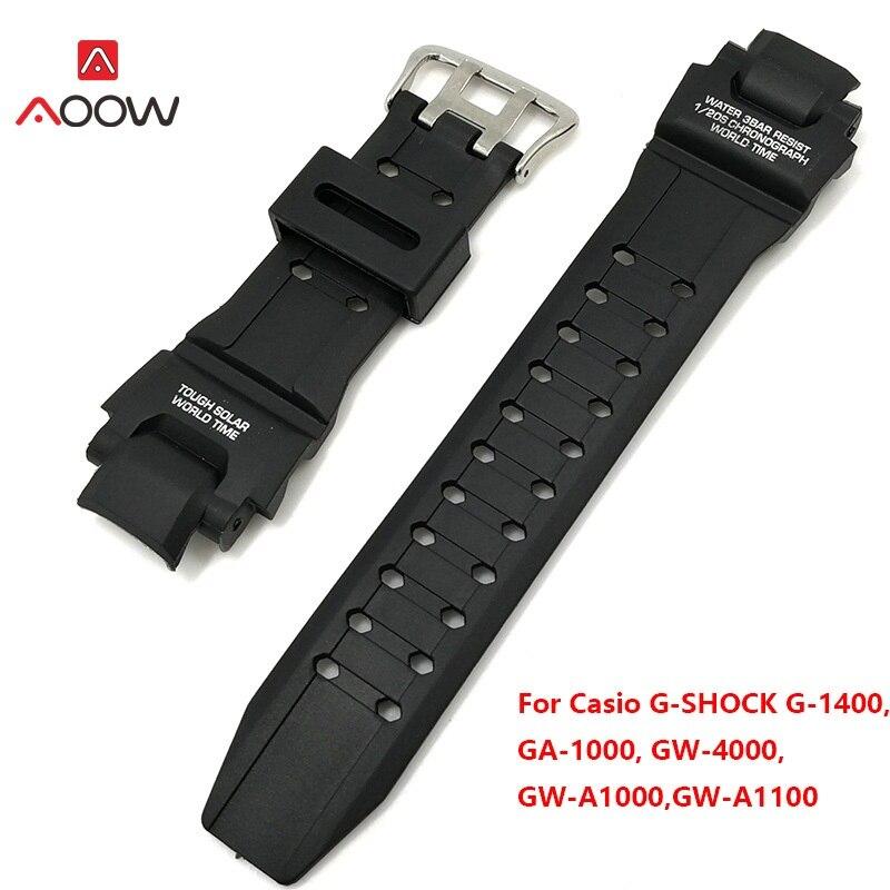 AOOW noir bracelet de remplacement accessoires de montre bracelet en Silicone pour Casio G Shock GA-1000/1100 GW-4000/A1100 G-1400