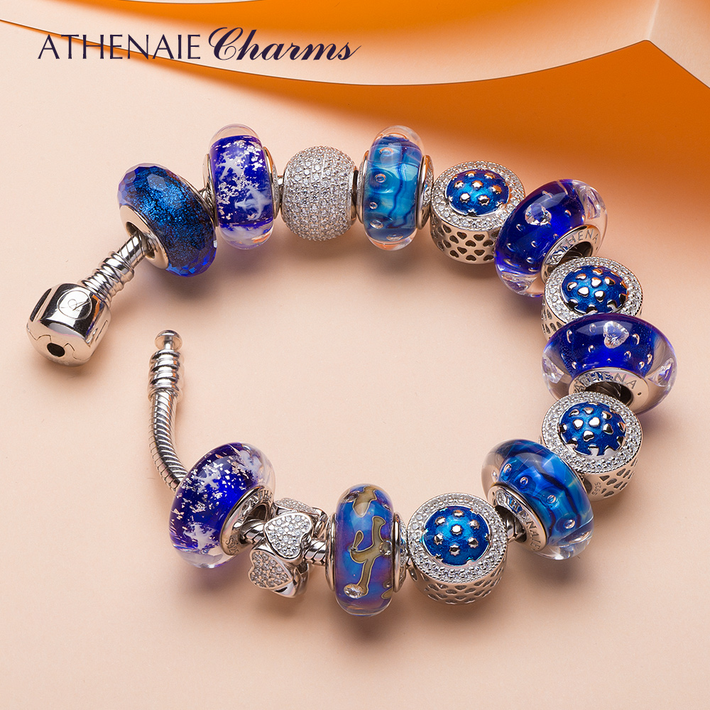ATHENAIE 925 Argento Blu Star Braccialetto di Fascino con Cuore a forma di Pendenti e Ciondoli Perline e Classico Perle di Vetro Gioielli FAI DA TE Regalo Della Ragazza