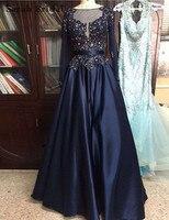 Wysokiej Jakości Kryształ Balu Długie Suknie Długie Rękawy Plus rozmiar Formalne Suknie Wieczorowe Granatowy Tafta Prawdziwe Zdjęcia Suknia LX066