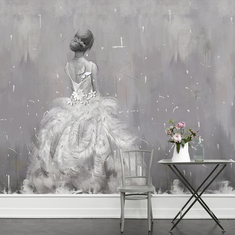 Hand-painted Print Wedding Dress 8d Papel mural Wallpaper 3d Wall Mural for sofa background 3d wall photo murals Wall paper white horse animal murals 3d animal wallpaper papel mural for dinning room background 3d wall photo murals wall paper 3d sticker