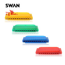 Swan 4pcs/lot SW1020-2 Yellow Green Blue Red 10 Holes 20 Tones Semi-transparent Harmonicas Musical Instruments Diatonic Harp Set(China)