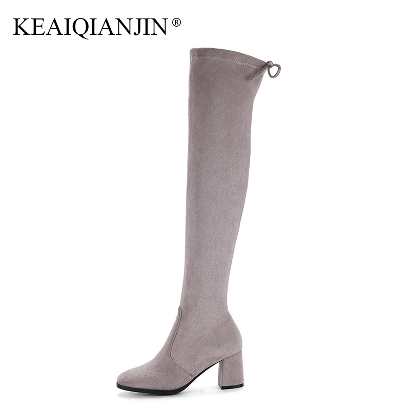 KEAIQIANJIN Woman Genuine Leather Over The Knee Boots Plus Size 32 - 43 Autum Winter Shoes Black Pointed Toe Knee High Boots цена