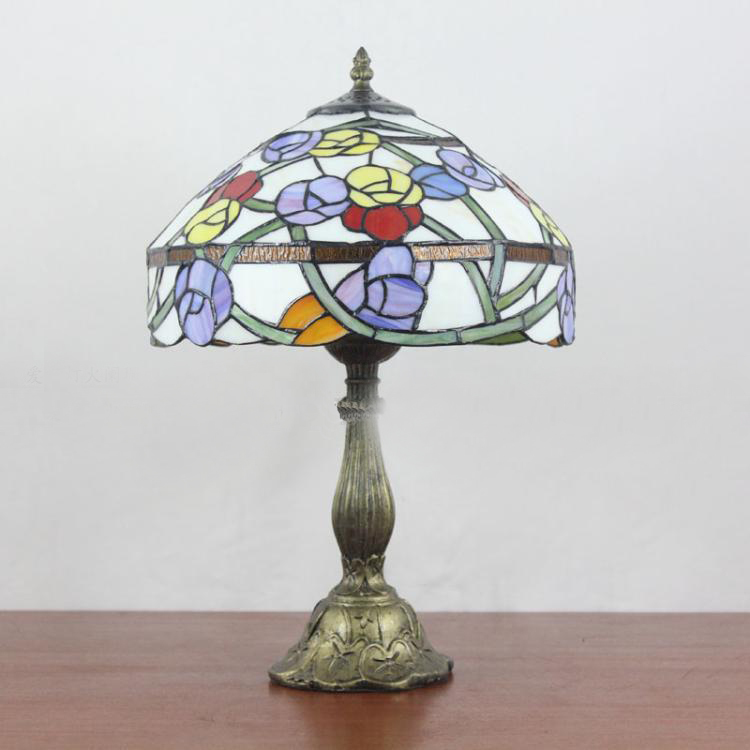 Purple Lamp Shades Table Lamps: Mediterranean Style Art Purple Yellow Red Tiffany Table Lamp With Dome  Shape Shade Bedside Desk Lamp,Lighting
