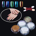 Professional Nail Art Metal Polish Chameleon Powder Color Manicure Mirror Chrome Effect Pigment Powder With Brush