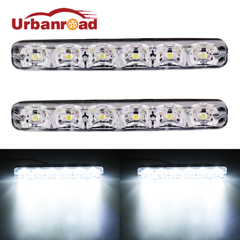 Urbanroad 2pcs/Pair Auto 12V Car Daytime Running Lights Kit High Low Beam Waterproof DRL Driving Fog Lamp Car Daytime Led Light oem fit 10w high power 5 led daytime running lights drl kit for bmw 3 series e90 e91 2005 2008 driving light led fog light lamp