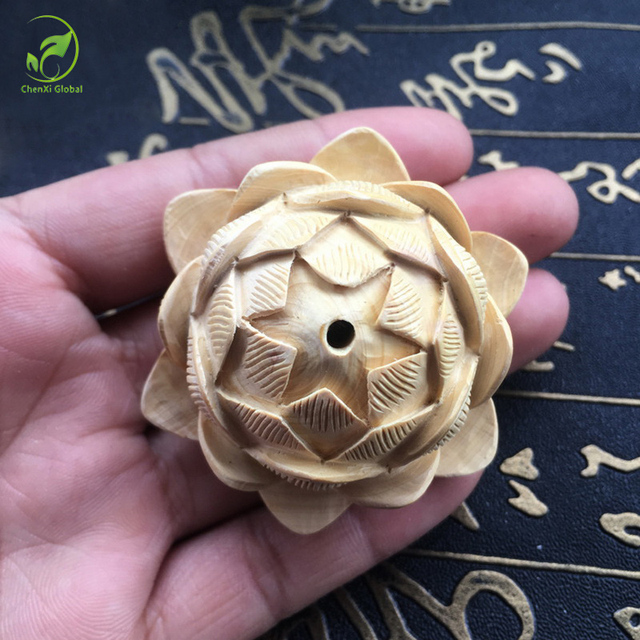 Small Lotus Carved Wood Craft Handmade Car Hanging Decorations For Home  Garden Accessories Decorative Figurines Natural