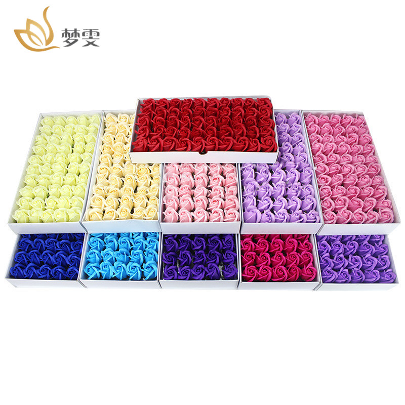 50Pcs/Box Flora Scented Bath Soap Rose Flower Wedding Party Valentines Day Mothers Day Teacher'S Day Gift Birthday