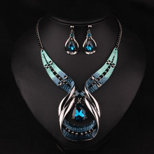2019 brand blue big gem Crystal Statement Maxi necklace green bead boho Cute punk collar choker necklace women Jewelry wholesale