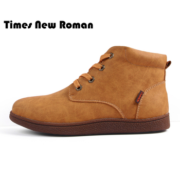 Times New Roman Leather Men Ankle Boots Breathable Men Leather Boots High Top Snow Shoes Outdoor Casual Men Winter Shoes