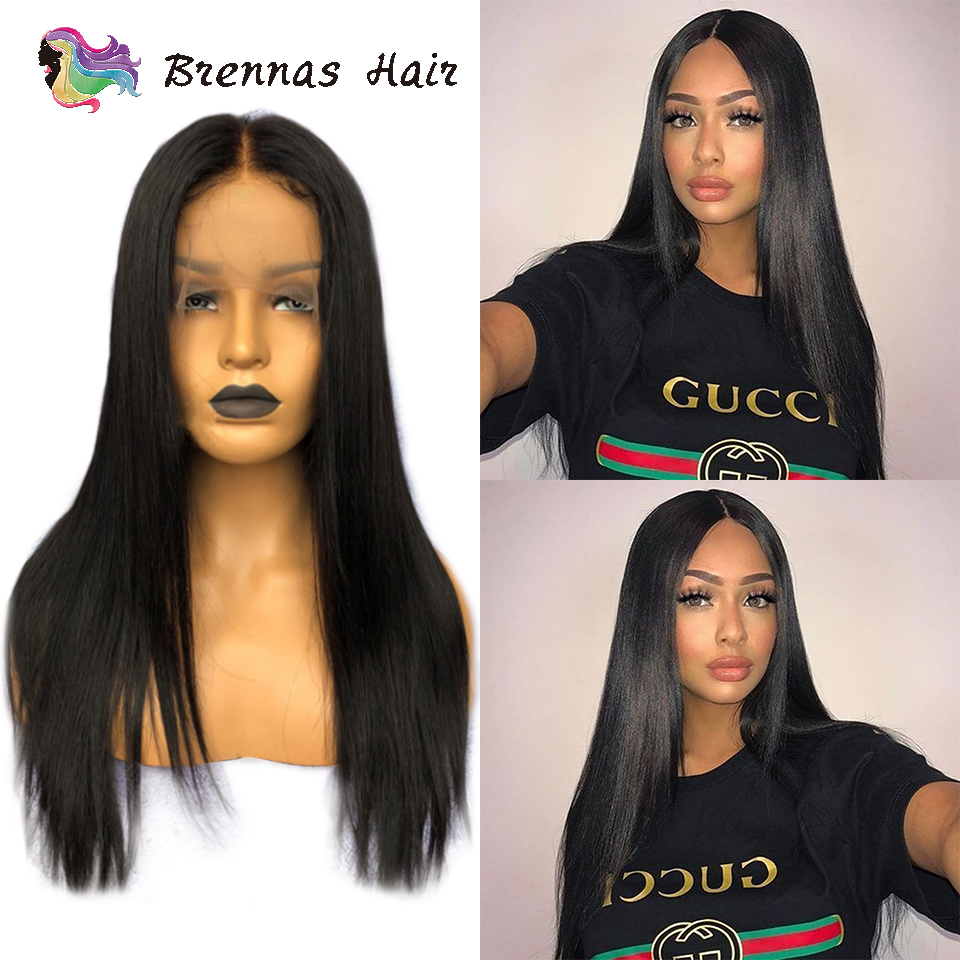 Lace front human hair wigs straight frontal wig natural color baby hair no shedding soft glueless