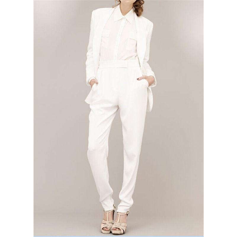 White Ladies Spring Comfort Pants Suit 2 Piece Custom Made Women Business Party Office Outfits  B319
