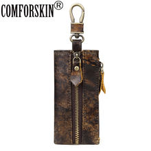 COMFORSKIN Guaranteed 100% Cowhide Leather Vintage Key wallets New Arrivals Multi-function Housekeeper Hot Brand Holders
