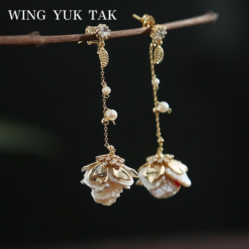 Wing yuk tak boucles d'oreilles à fleurs faites à la main pour femmes classique Baroque perle d'eau douce boucles d'oreilles goutte bijoux de mariage de fête