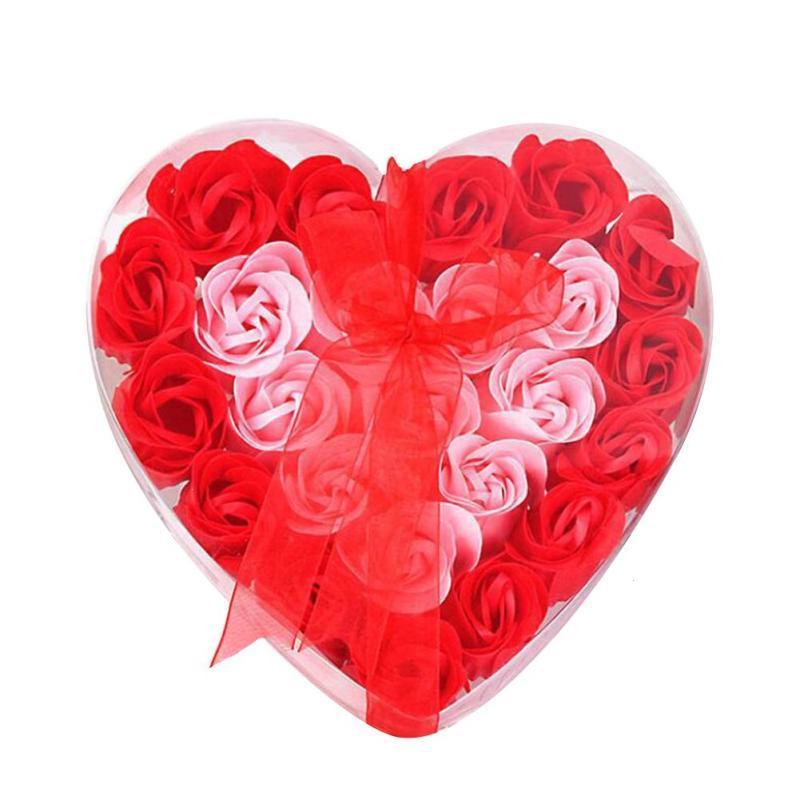 День Святого Валентина Hotsale 24 шт. Ароматические ванны тела цветка мыла лепесток розы в сердце Box Свадебный подарок на день рождения G30