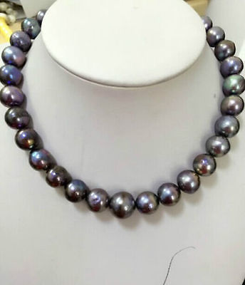 HUGE 13-15MM SOUTH SEA GENUINE BLACK PEARL NECKLACE>Selling jewerly free shipping