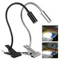 3W 390mm Flexible Neck Length Metal Tubing Goose Neck USB LED Table / Desk Light with Clip, Black / Silver