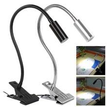 3W 390mm Flexible Neck Length Metal Tubing Goose Neck USB LED Table / Desk Light with Clip, Black / Silver