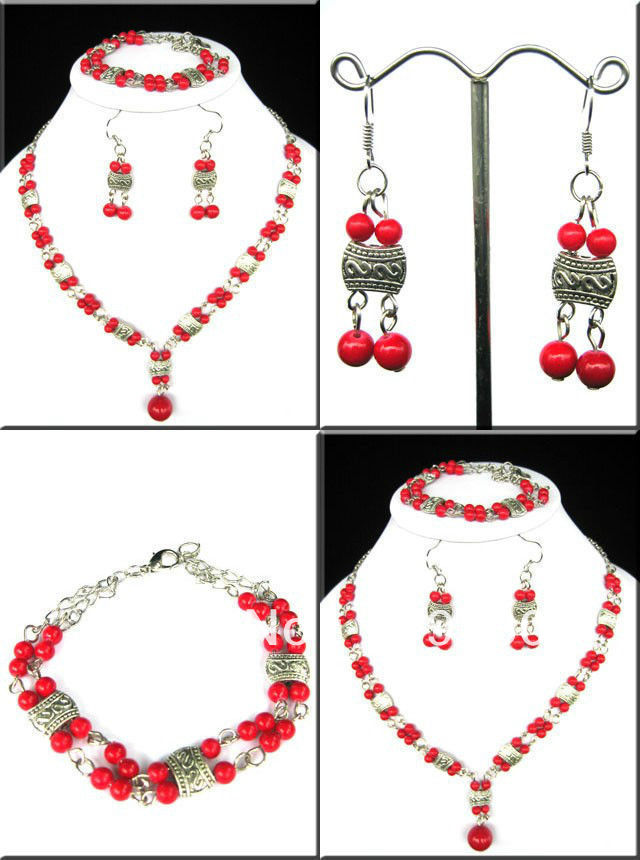 Jewelry 00246 Set Jewelry tibet Silver RED CORAL Beads Necklace&Bracelet earring 5.4