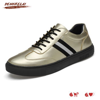 DENGKELAI Men Sneakers Shinning Gold Split Leather Shoes High Quality Rubber Sole Durable Male Causual Shoes