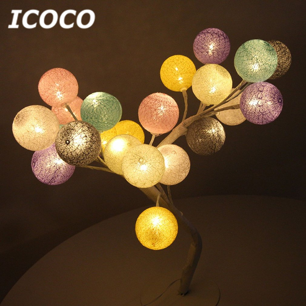 220V LED Cotton Ball Tree Table Night Light Romantic Desk Lamp For Home Bedroom Wedding  ...