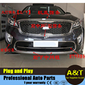 For 2015 KIA Sorento ABS chrome front grille,headlights,fog lights,machine cover auto decorative parts trim 12 pcs Car Accessori
