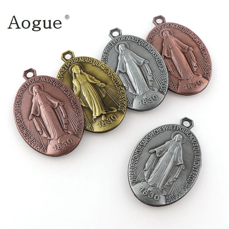 Oval Miraculous Medal Miraculous Medal Pendant Charms Round St Benedict Crucifix Pendants For Key chain Pendants Saint Joseph