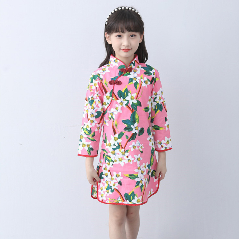 Children Cheongsam Chinese Style Girl Costume Chinese Traditional Dress Oriental Cheongsam Long Sleeve 2018 New Girls Clothes