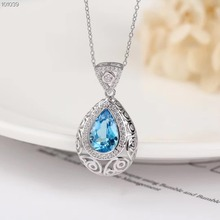 hot sale 2019 fashionable simple-designed natural blue topaz 925 sterling silver female pendant necklace