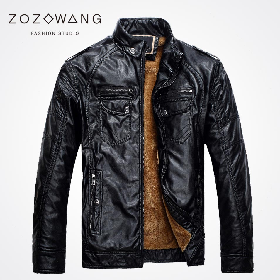 Zozowang 2017 Men's retro do the old leather and cashmere leather jacket collar PU leather jacket short paragraph Slim thick