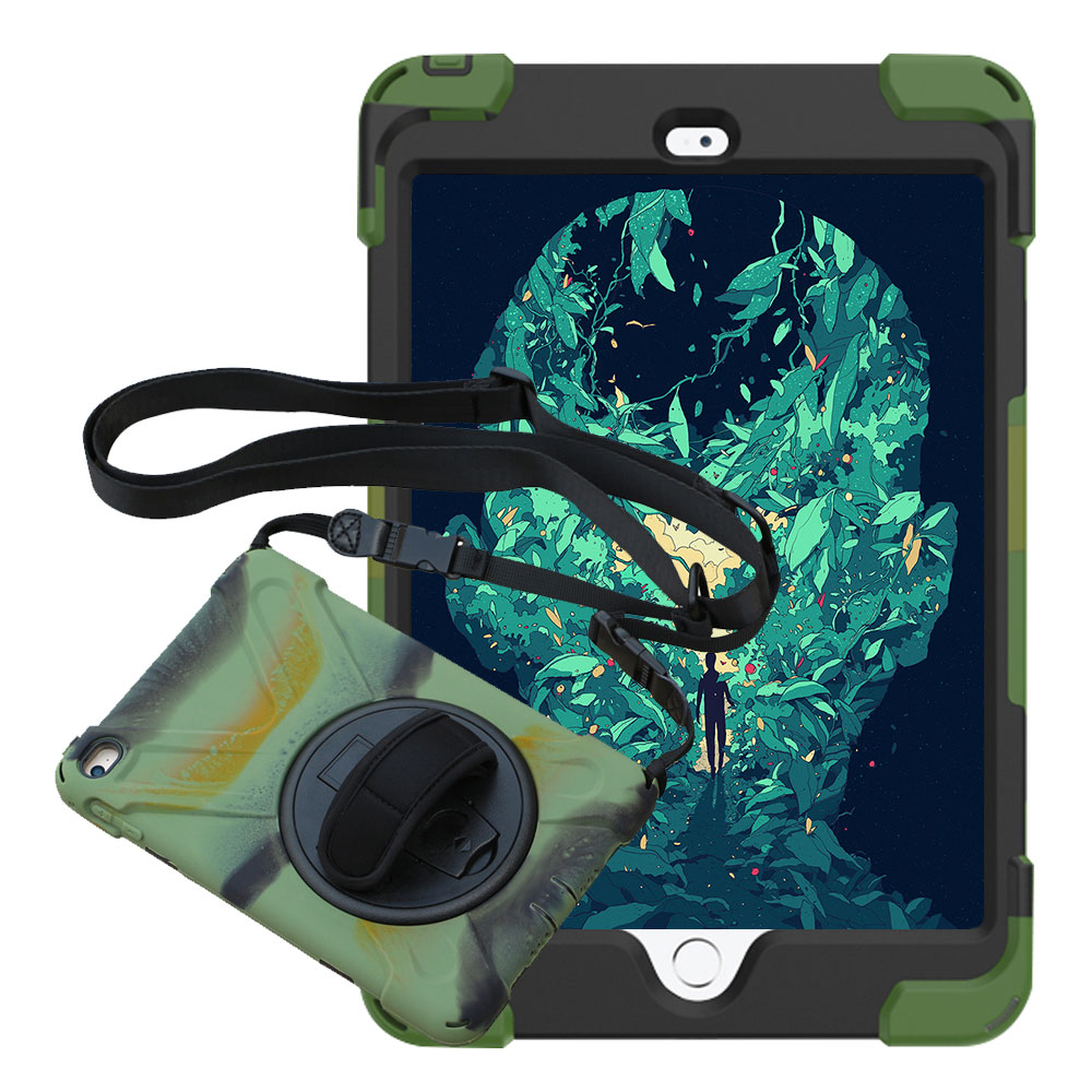 For iPad mini 4 Pirate Tablet Case Cover Kids Safe Shockproof Heavy Duty Silicone+PC Kickstand Case With Wrist + Shoulder Strap