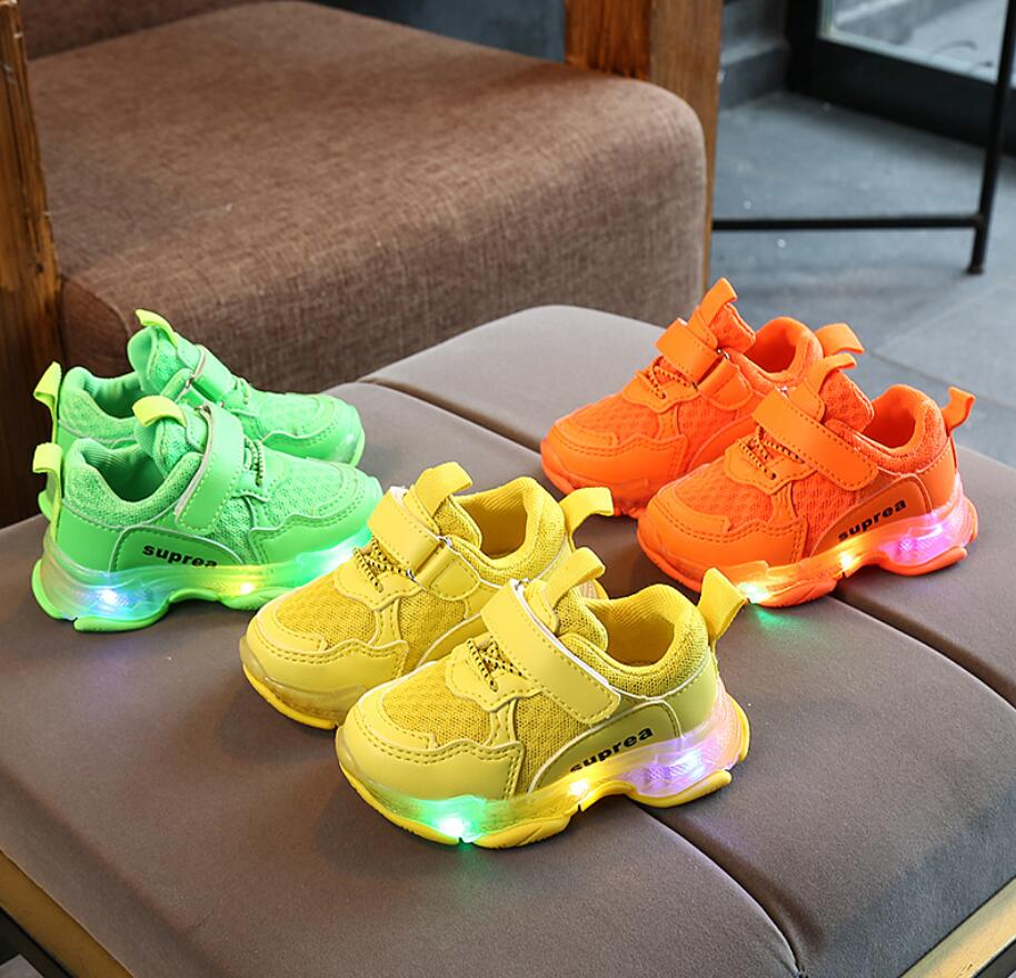 New Baby Casual Shoes Kids Boys Girls LED Lights Sports Shoes for Autumn