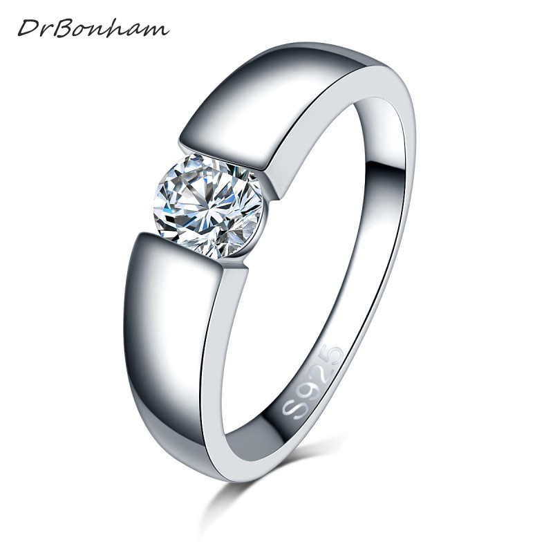free shipping men silver color wedding Ring Engagement Rings Zirconia Anel ..