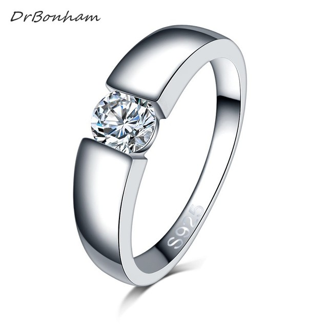 Drop shipping men silver color wedding Ring Engagement Rings Zirconia Anel Jewel