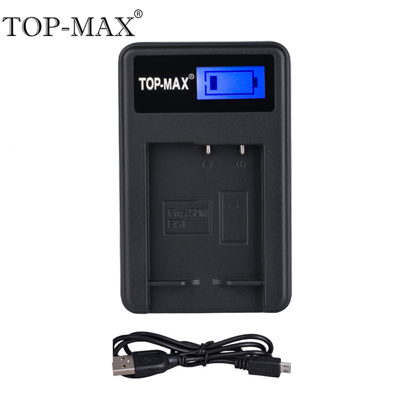 TOP-MAX NP-BG1 Digital Camera Battery Smart USB Charger With USB Cable For Sony Cyber-shot DSC H3 H7 H9 H10 H20 H50 H55 W130 W21 фотоаппарат sony cyber shot dsc rx10m2
