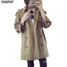 Autumn Windbreaker Female 2017 New Cotton Outerwear Medium Long Double-breasted Women Trench Coat Loose Casual Tops YAGENZ K389