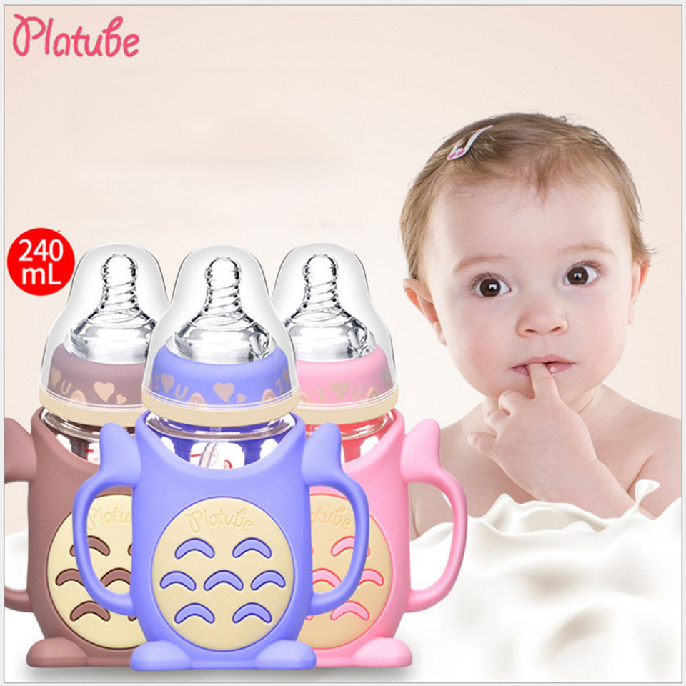 Platube 240Ml BPA Free Baby Feeding Bottle Wide Mouth Glass Nursing Bottle With Dust Cover Infant Anti-Colic Copo Infantil Cup 65yz7b wide mouth crystal glass bottle bottle set newborn 16 a100 a101