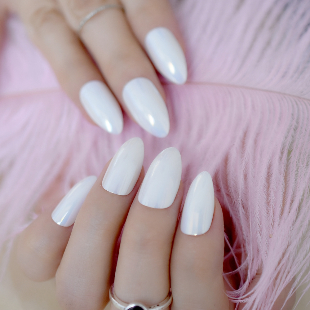 Chameleon Style Mirror Chameleon Style False Nails Shiny Point White Plastic Lady