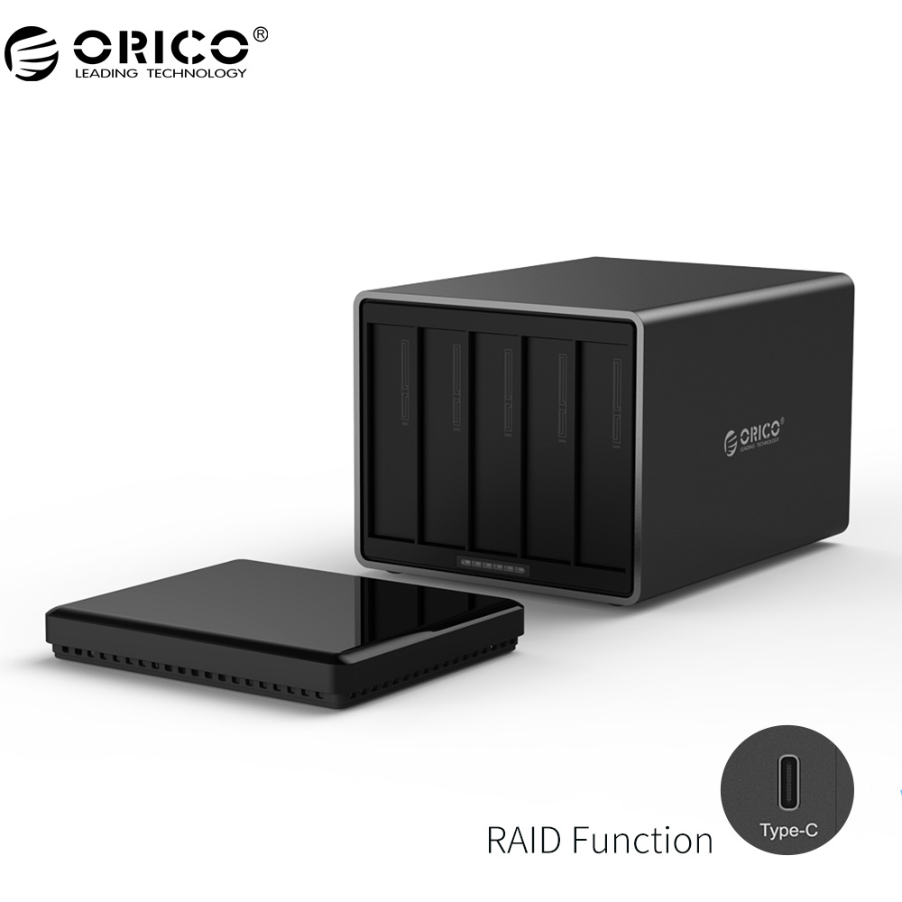 ORICO NS500RC3 5 Bay Type-C Hard Drive Dock with Raid Support 50TB storage 5Gbps UASP 12V6.5A Adapter Tool Free HDD Enclosure orico 6518c3 type c hard drive dock 2 5 3 5 inch tool free