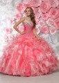 Pêssego vestido de Baile Prom Vestidos Quinceaneara Sweetheart Frisada Ruffles Organza Doce 15 Vestidos Cristais Vestidos de Festa Da Princesa