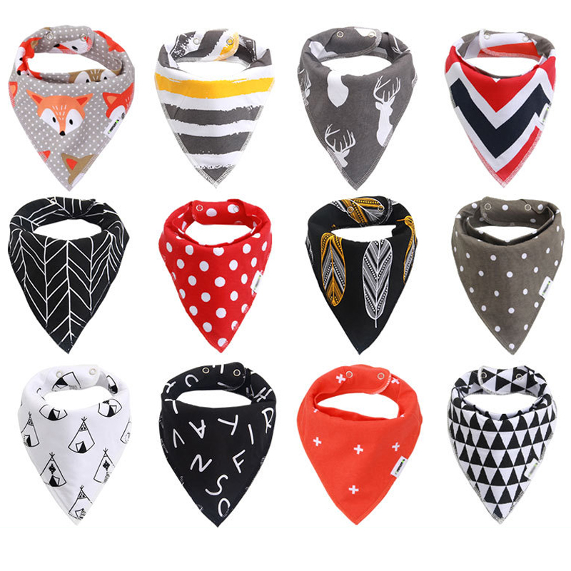 cute 4pc/Lot Unisex Baby Bibs Newborn Baby Burp Scarf Accessories Adjustable Snaps 100% Cotton Bibs for Drooling Teething
