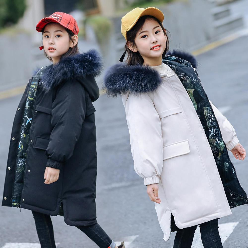 Winter Down Jacket for Teenage Girls Boys Big Fur Collar Hooded Long Parka Coats School Kids Clothes Teen Children Overcoat 10 9 in Down Parkas from Mother Kids