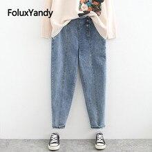 Asymmetrical Button Fly Jeans Women Trousers Casual Regular Slim Denim Pencil Pants Plus Size Jeans Black Blue SWM1299 цены