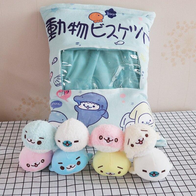 Candice guo one bag plush toy stuffed doll ocean animal sea lion pillow pocket cushion package birthday christmas gift 8pcs/bag