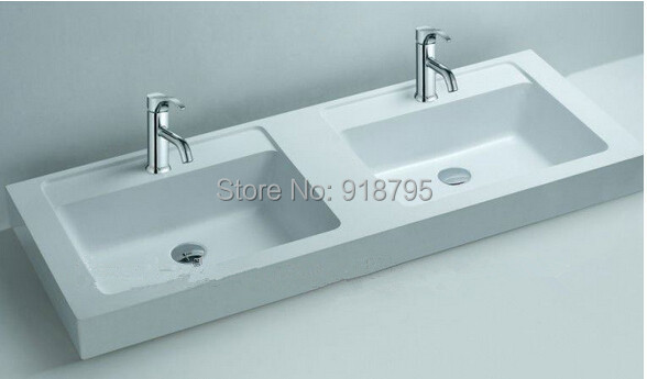 Wonderful Rectangular Matt Solid Surface Stone Counter Top Wash Sink Bathroom Wall  Hung Corian Double Washbasins RS3806 Part 14