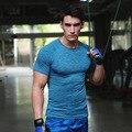 Muscular elástico Fit camiseta Medias de Compresión Para Hombre Camisa de Poliéster/Spandex de Fitness Camiseta Culturismo Camisetas Hombre