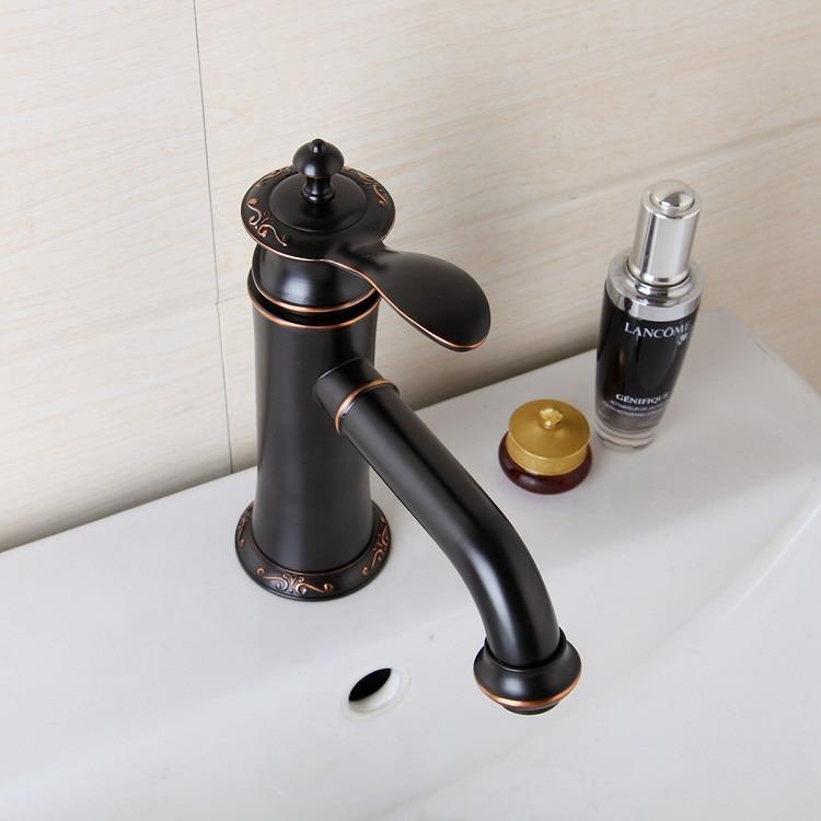 Basin Faucets Black Oil Rubbed Bronze Brass Bathroom Faucet Single Handle Bath Sink Cold Hot Water Mixer Tap torneiras