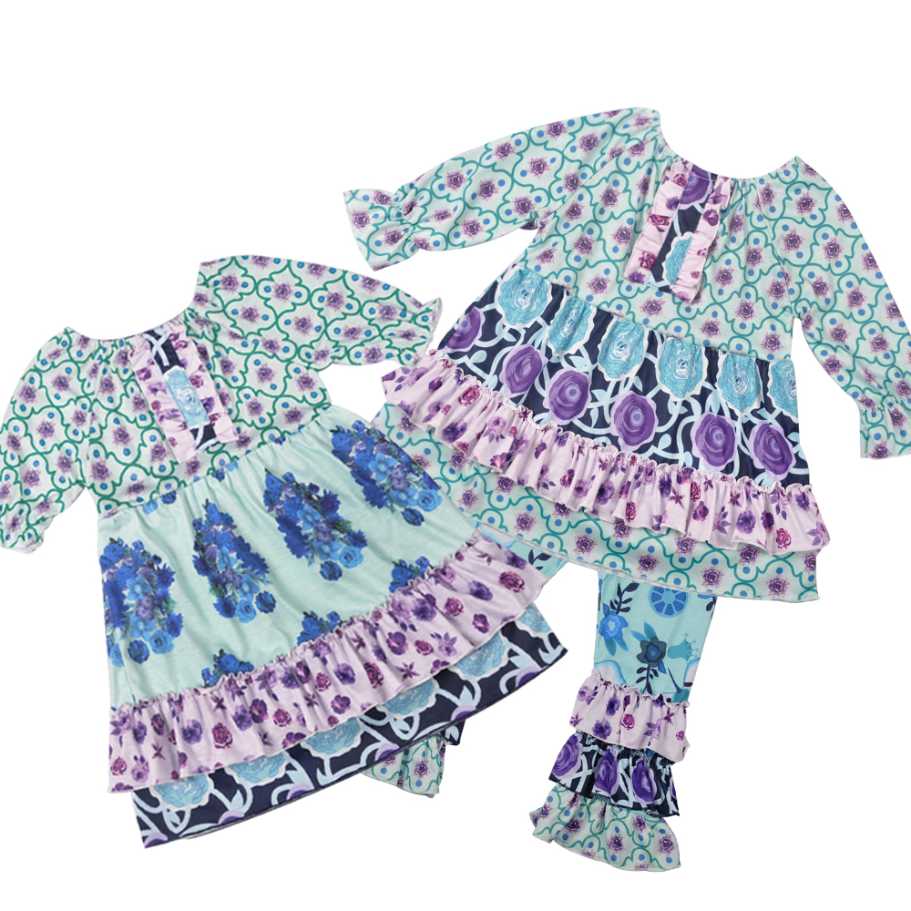 Summer Girls Clothes Floral Kids Top Suits Purple Dress Triple Ruffle Pants 2 PCS Boutique Baby Girls Clothing Sets Match Dress коляска esspero summer line light purple sl010a 108068275