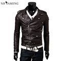 New Fashion Mens Motorcycle Leather Jacket Epaulet Zipper Biker Coat Slim Fit Jackets For Men Jaqueta De Couro LC2017009