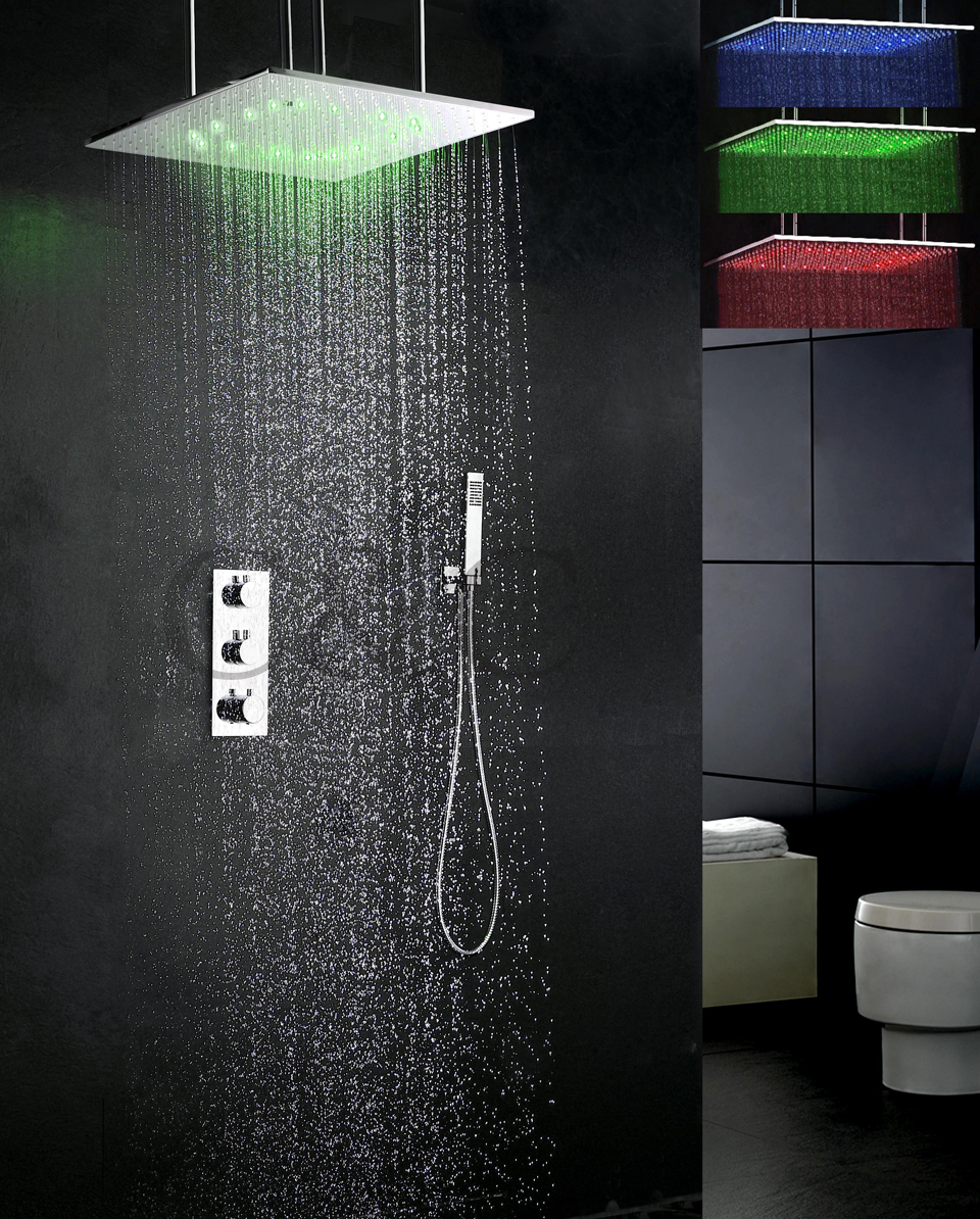 Thermostat LED Bath Shower Faucet Set 20 Inch Atomizing And Rainfall ...