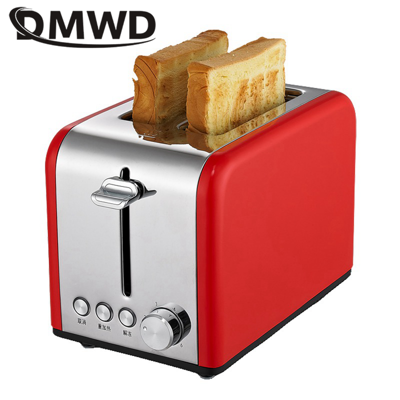 DMWD 2 Slices Stainless Steel Toaster Automatic Fast Heating Bread Toaster Household Breakfast Maker Making Bread Oven